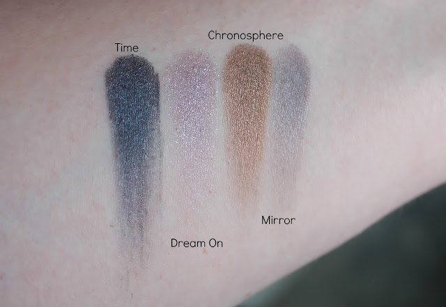 Photo of swatches of Time's Shades from the Urban Decay Alice Through the Looking Glass Palette