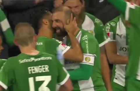 Kennedy Bakircioglu celebrates goal on free kick against Gothenborg 10-3-2018