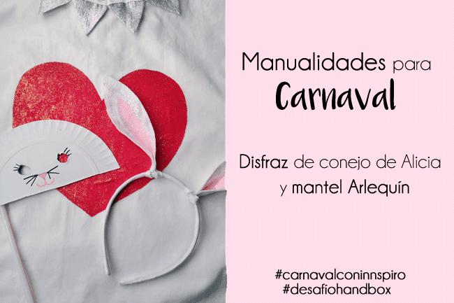 Disfraz de Conejo de Alicia y mantel de Arlequín para carnaval