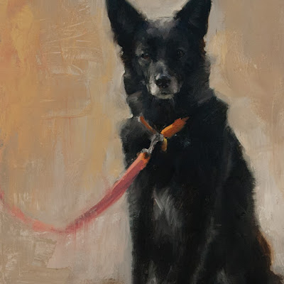 detail of oil painting of a black dog, leashed and waiting, by Shannon Reynolds