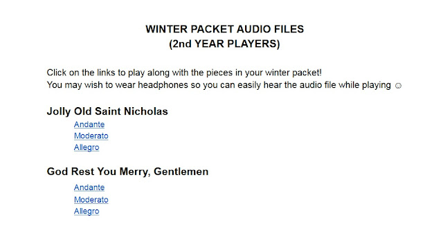 winter packet sheet music and audio files for beginning orchestra