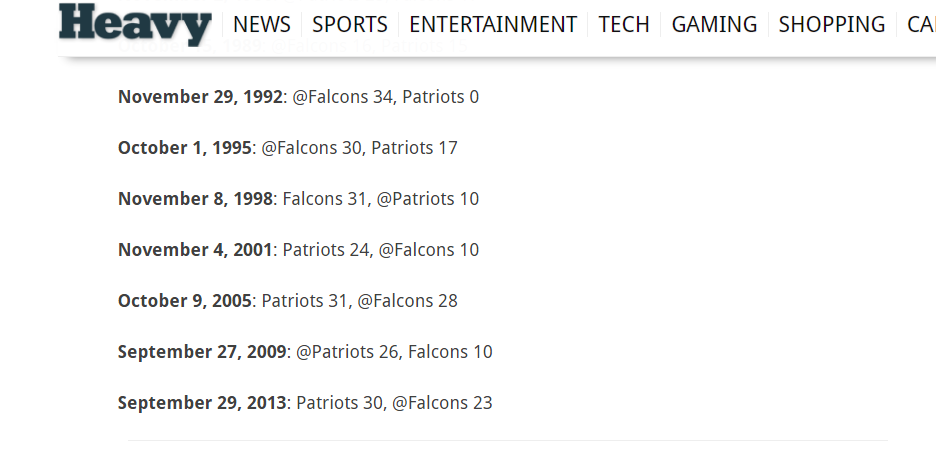 The Mindless Freaks: Patriots last played Falcons 175 weeks ago