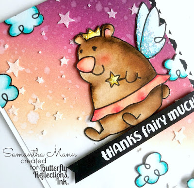 Thanks Fairy Much Card by Samantha Mann, Paper Smooches, Distress Ink, Ink Blending, Handmade Card, glitter, tooth fairy, #distressinks #inkblending #cards #papersmooches