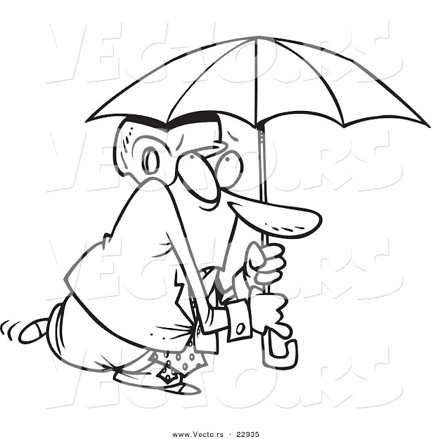 Vector Of Cartoon Paranoid Businessman Wearing Helmet Under An Umbrella   Coloring Page Outline
