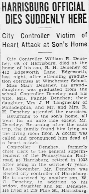 death of William R. Denehey in Harrisburg Telegraph June 1936