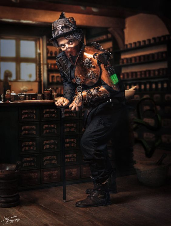 man dressed in steampunk costume with plague doctor mask (leather bird mask) hat, goggles, leather armor, glowing green tubes