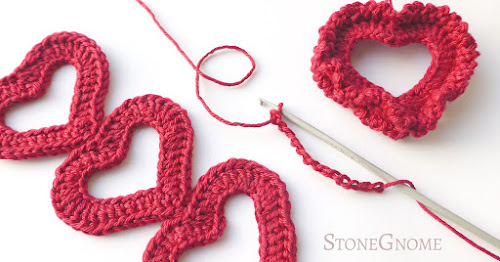 Crocheted bookmark and ornament heart