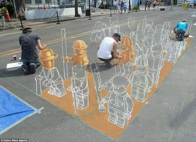 Middle Step of 3d Street Painting