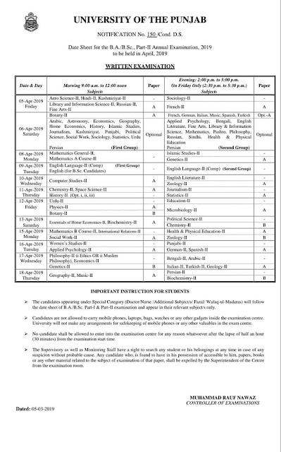 B.A, B.Sc Date Sheet 2019