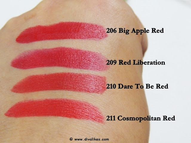 Maybelline Color Show Big Apple Red Lipstick Collection Swatches