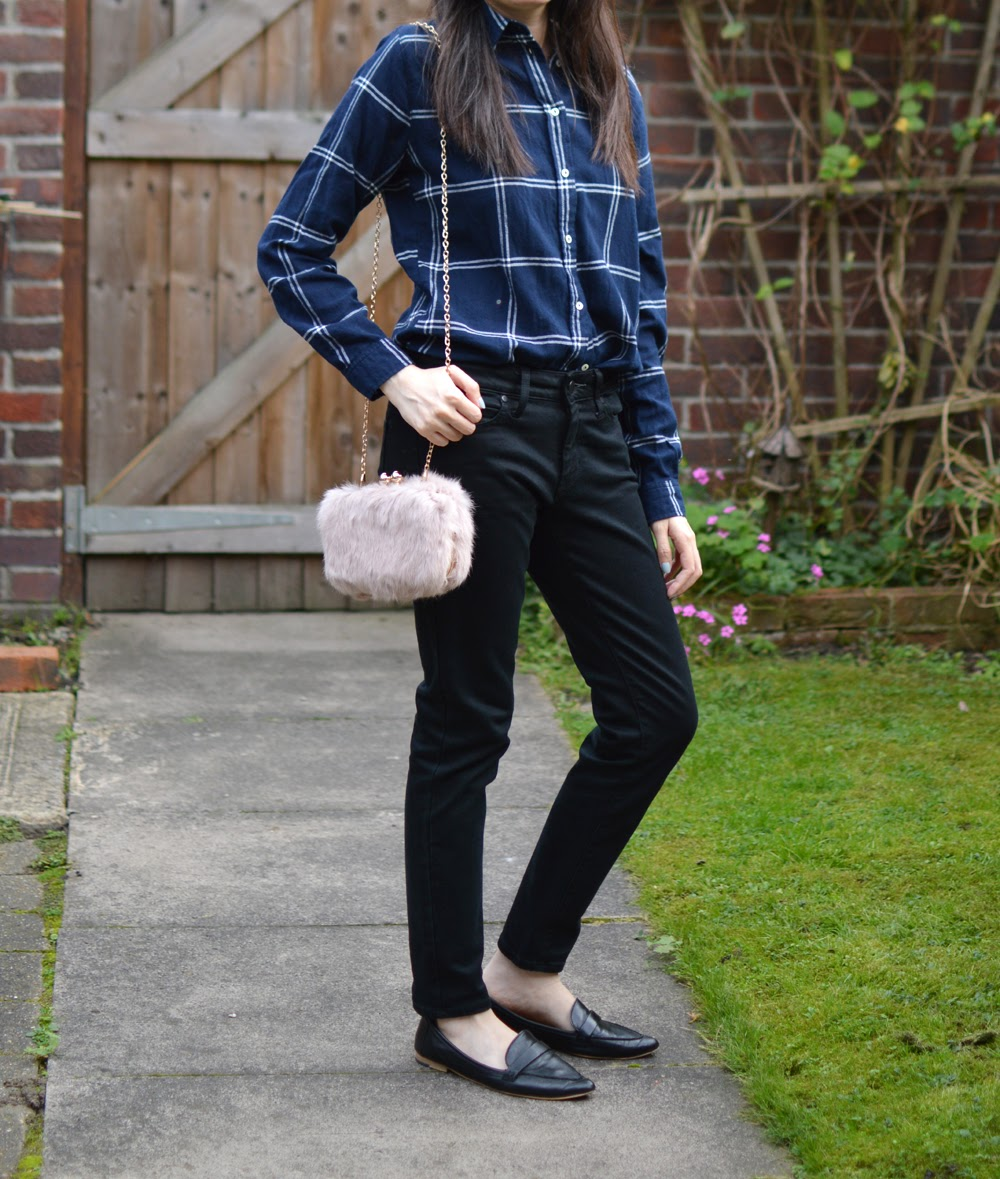 Navy Shirt & Pink Bag