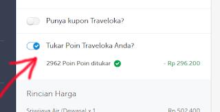 pembayaran dengan menggunakan point di traveloka