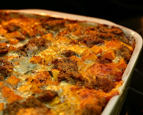 Savory Bread Pudding with Butternut Squash, Chard & Cheddar, another vegetarian supper ♥ AVeggieVenture.com