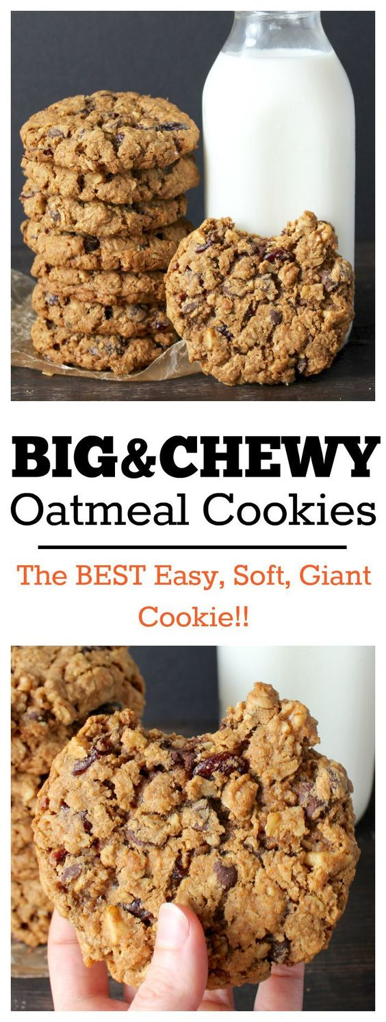 BIG AND CHEWY OATMEAL COOKIES #chewy #chewycookies #oatmeal #oatmealcookies #cookies #cookiesrecipes
