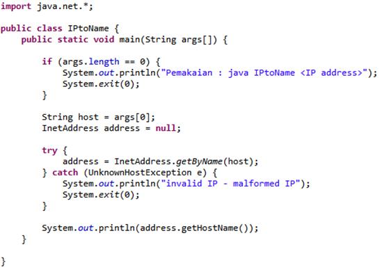 Yunus 222 Mengubah Ip Address Menjadi Hostname Pada Local Computer Menggunakan Java