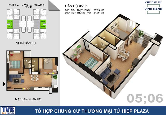 Thiết kế căn hộ 05 và 06, diện tích 61m2 thông thủy (02 phòng ngủ)