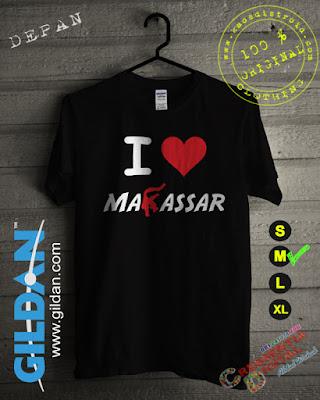 Baju Kaos DISTRO Desain I Love Makassar Warna Hitam