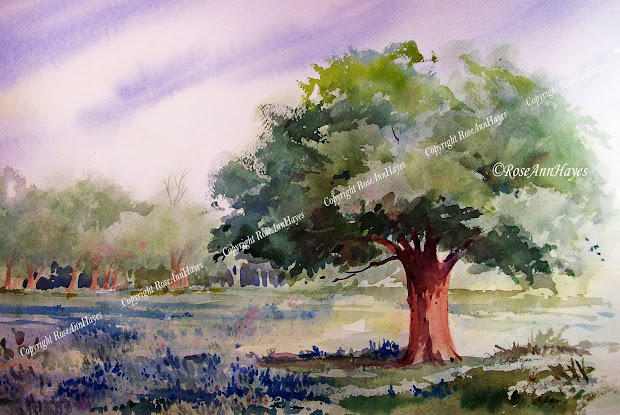 Watercolor Paintings of Live Oak Trees