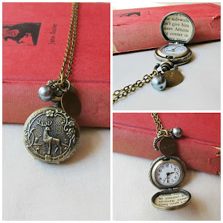 image atticus finch pocket watch necklace woodland stag deer literature text harper lee to kill a mockingbird two cheeky monkeys pocketwatch