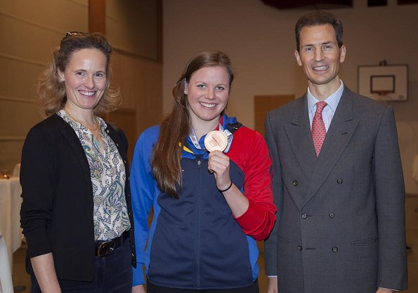 Hereditary Prince Alois of Liechtenstein and Hereditary Princess Sophie of Liechtenstein congratulated 24 years old Liechtensteiner swimmer Julia Hassler