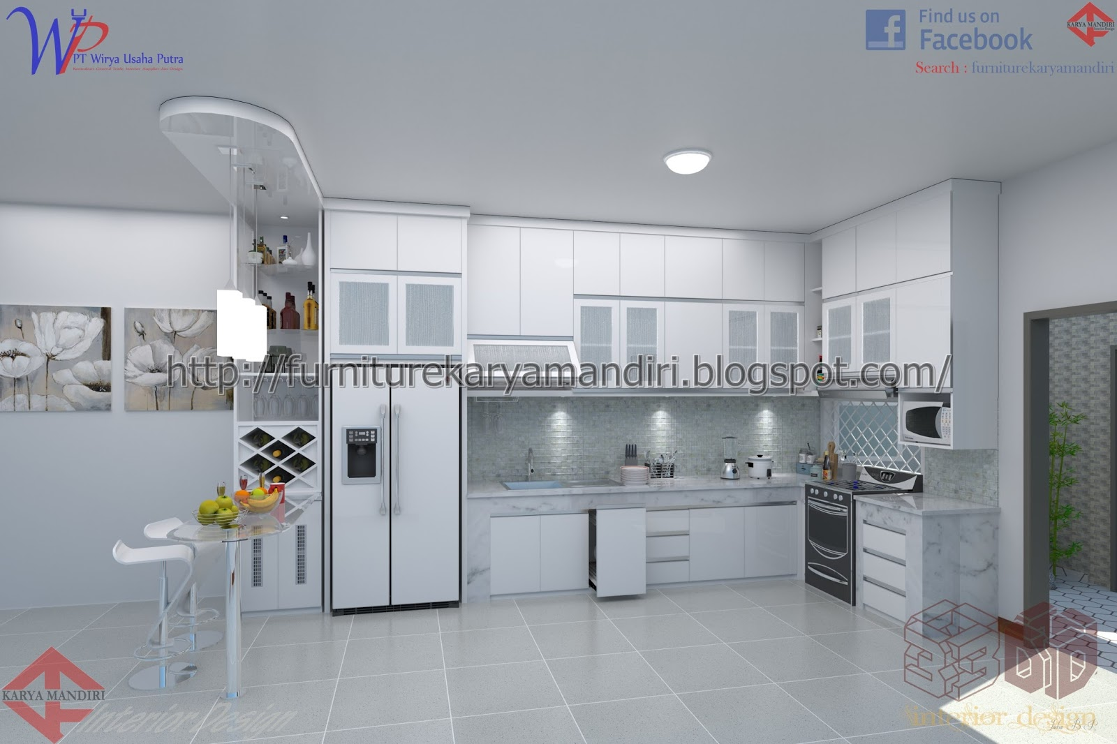 Kitchen set minimalis finish duco marble carrara minibar