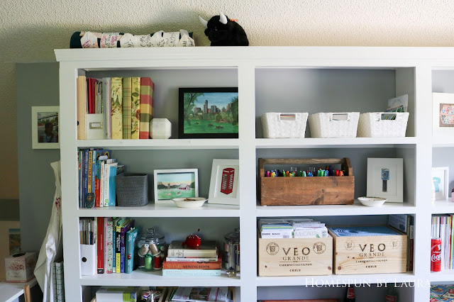 One Room Challenge Week 6 Home Office Sewing Craft Room Transformation organized built in shelf craft supplies