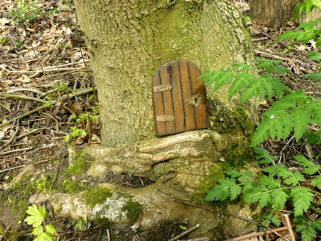 Pear tree log fairy doors in the wood lily of the valley for Fairy doors for trees