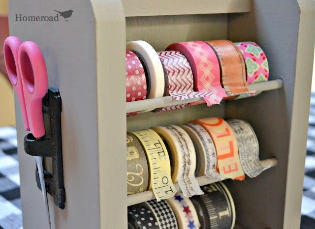 The perfect Washi tape dispenser made from a lazy susan spice rack