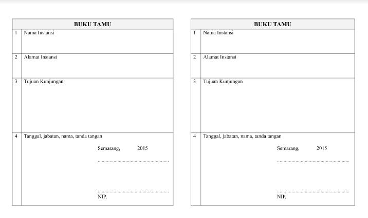 Format Buku Tamu Umum dan Buku Tamu  Khusus PAUD SD SMP SMA SMK