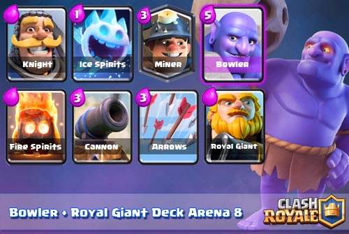 Strategi Deck Bowler Royal Giant Arena 8 clash royal