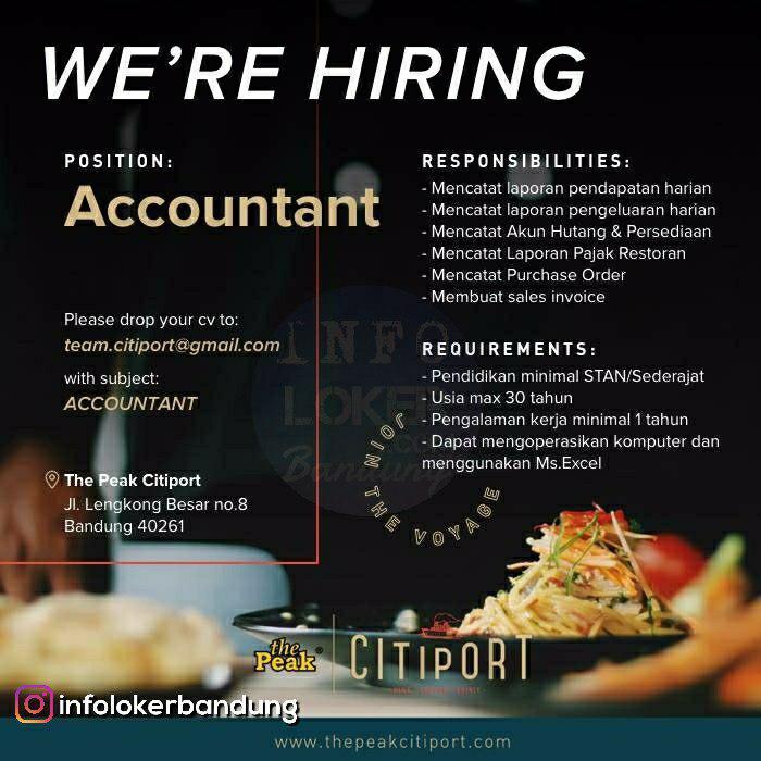 Lowongan Kerja Accountant The Peak Citiport Bandung Mei 2018