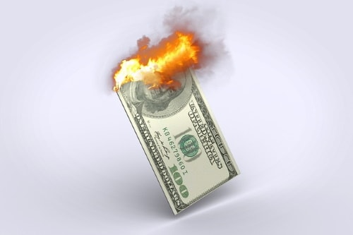 Financial management avoids burning and wasting money.