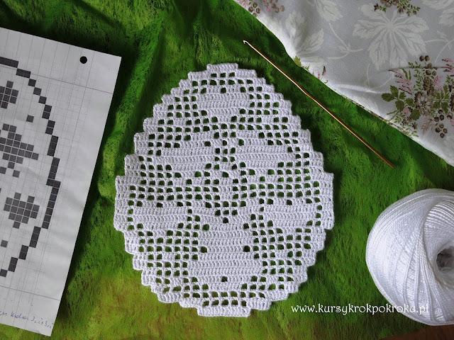 Zawieszki jajka w koronce, filet na szydełku cz.1 - SCHEMATY i WZORY