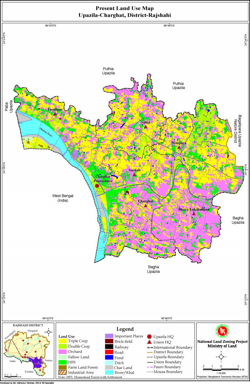 Charghat Upazila Mouza Map Rajshahi District Bangladesh