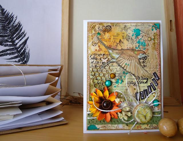 kolorowa kartka z ptakiem