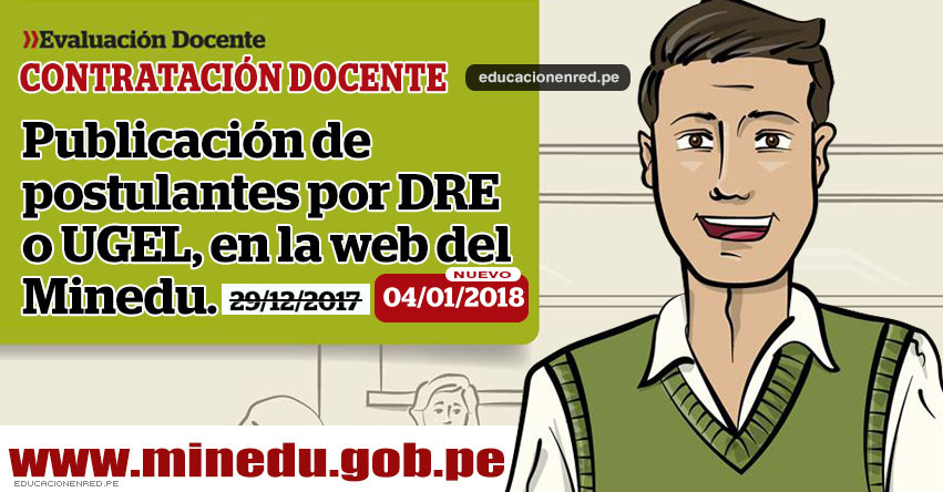 MINEDU: Hoy publican Lista de Postulantes para Contrato Docente 2018 (Viernes 29 Diciembre) www.minedu.gob.pe