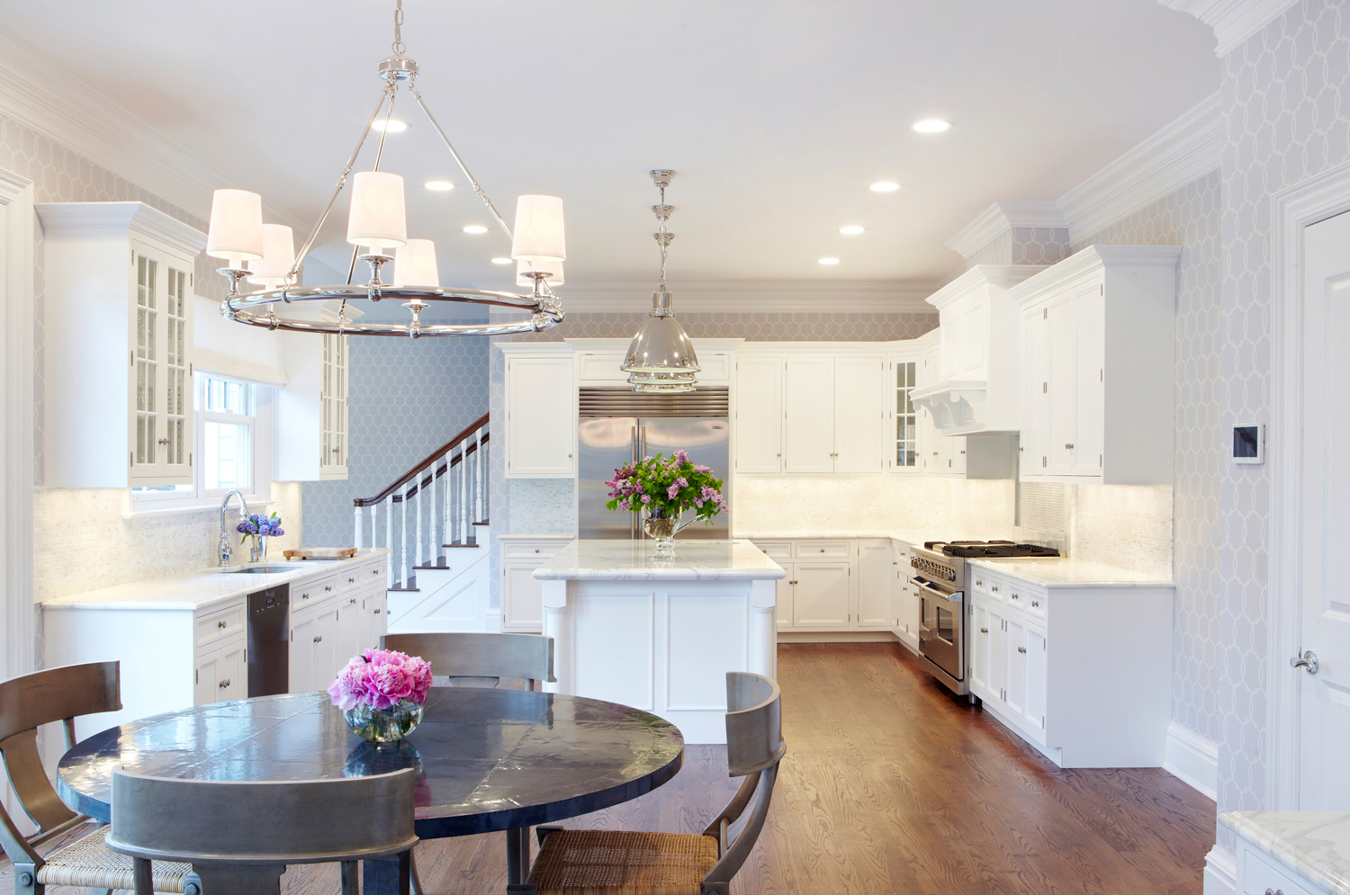 Design Dilemma Coordinating Kitchen Island And Breakfast Nook - Lighting over breakfast table