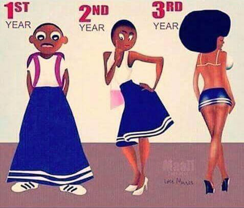 They said this is the evolution of a runs girl in university