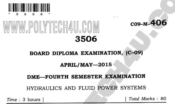 hydraulics and fluid power systems old question papers c-09 dme 2015