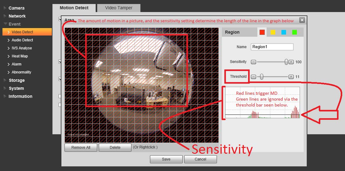 Sensitivity Threshold security camera systems