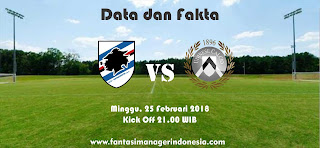 Data dan Fakta Liga Fantasia Serie A Gio 26 Sampdoria vs Udinese Fantasi Manager Indonesia