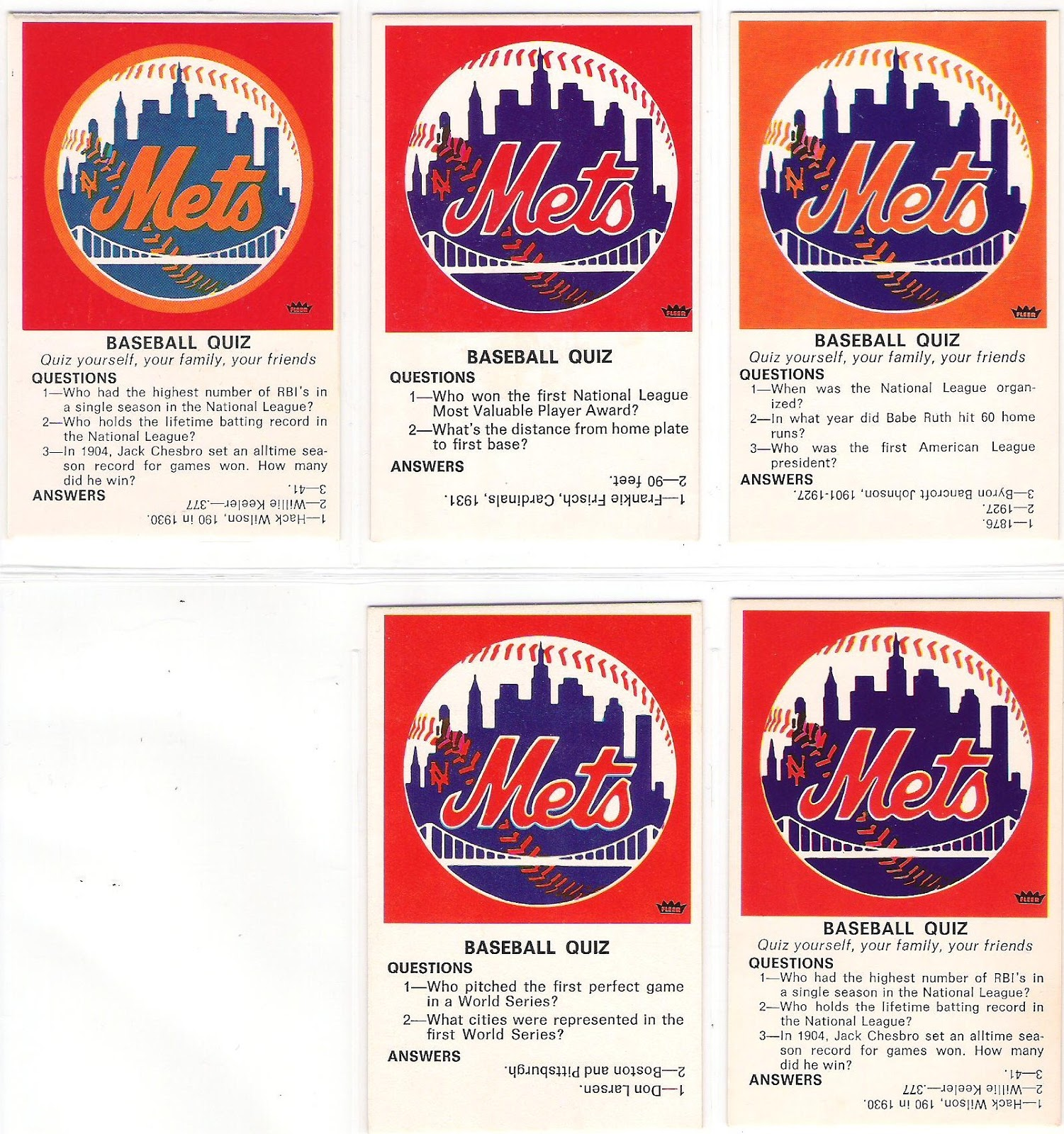 the fleer sticker project 1969 1971 fleer baseball quiz cards
