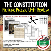 Constitution Picture Puzzle,  TEST PREP, UNIT REVIEWS, TEST REVIEWS, and STUDY GUIDES