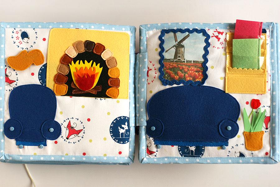 Handmade fabric travel dollhouse, quiet busy book, развивающая книжка, кукольный домик