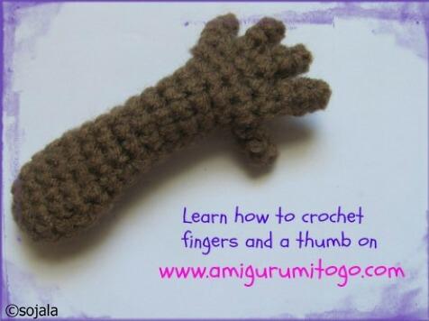 crochet hand for doll