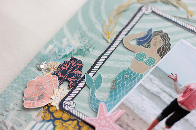 Wild & Free Scrapbook Page by Elena Olinevich using BoBunny Down By the Sea Collection