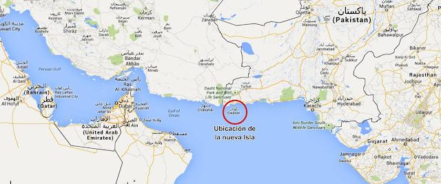 Ubicación de la nueva isla en Pakistan luego de terremoto