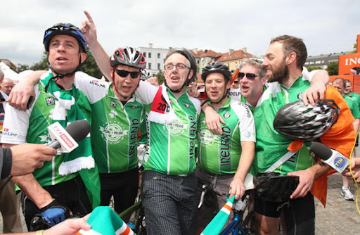 The Pedal to Poland crew pictured on their arrival in Gdańsk