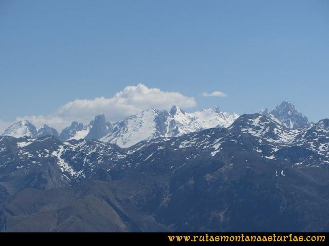 Ruta Ardisana, pico Hibeo: Vista del macizo central de Picos de Europa