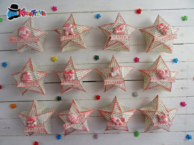 Segnaposti natalizi Scatolina Stella Origami